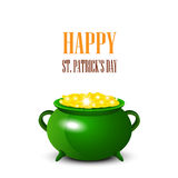 Patrick Day background with cauldron of gold coins. Vector illus Royalty Free Stock Image