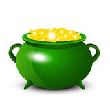 Patrick Day background with cauldron of gold coins Stock Photography