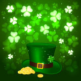 Patrick day background with clover and hat leprechauns Royalty Free Stock Photography