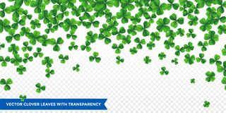 Patrick day background with four-leaf clover pattern background. Lucky fower-leafed green background royalty free illustration