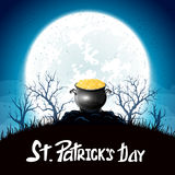 Patrick day background with gold leprechauns Royalty Free Stock Photos