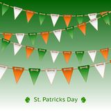 Patrick day card with flag garland Stock Photography