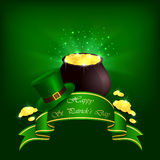 Patrick day green background. Hat, pot with leprechauns gold and ribbon on green background, illustration Royalty Free Illustration