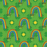 Patrick Day Seamless Pattern. Seamless Pattern with Four Leaf Clover in Flat Style, Leprechaun Hat with Rainbow and Coins on a Green Background vector illustration