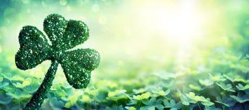 Patrick Day Symbol - Shiny Clover stock photo
