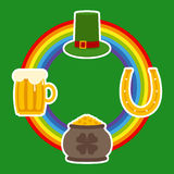 Patrick Day Symbols and Rainbow Stock Image