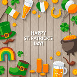 Patrick Day Wooden Background with Irish Icons. Stock Photos