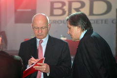 Patrick Gelin and Ilie Nastase. After leaving the management of BRD, Patrick Gelin was sent by Societe Generale in a new mission. Gelin moved from early February Royalty Free Stock Photos