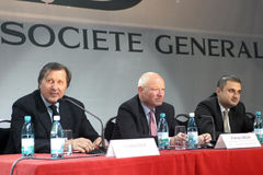 Patrick Gelin, Ilie Nastase and Sorin-Mihai Popa. After leaving the management of BRD, Patrick Gelin was sent by Societe Generale in a new mission. Gelin moved Stock Photos