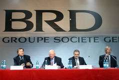 Patrick Gelin, Ilie Nastase and Sorin-Mihai Popa. After leaving the management of BRD, Patrick Gelin was sent by Societe Generale in a new mission. Gelin moved Stock Photo