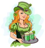 Patrick girl holding a tray of green beer Stock Image