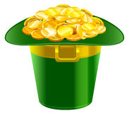 Patrick hat full of gold coins. Patrick green hat with gold buckle Royalty Free Stock Photography