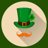 Patrick hat. Green hat with four leaf clover and red mustache. Flat style with long shadow. Happy St. Patrick`s day. Royalty Free Stock Photography