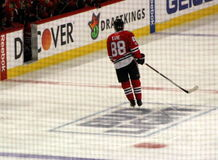 Patrick Kane at Chicago Blackhawks Hockey Game. Patrick Kane leaves the ice at at a game between the Chicago Blackhawks and the St. Louis Blues hockey teams at stock photography