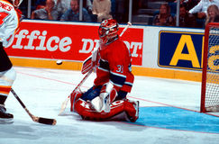 Patrick Roy Montreal Canadiens. Former Montreal Canadiens goalie Patrick Roy makes a save. (scanned from slide Stock Photography
