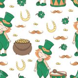 PATRICK`S ALE Saint Patrick`s Day Seamless Pattern Vector. PATRICK`S ALE Saint Patrick`s Day Cartoon Seamless Pattern Vector Illustration for Print, Fabric and vector illustration
