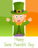 Patrick s Card with Leprechaun Royalty Free Stock Photo