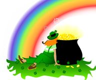 Patrick's Day. Leprechaun with rainbow, cauldron of coins and lucky shamrock Stock Image