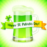 Patrick's Day card with pint of green beer Stock Image