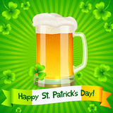 Patrick's Day card with pint of light beer Royalty Free Stock Photography