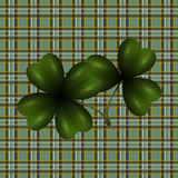 Patrick`s Day. Clover leaf translucent image. Background in the cell in the Irish style. illustration Stock Photography