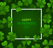 Patrick`s Day with Clovers on Green Background. Saint Patrick`s Day Banner with Green Four and Tree Leaf Clovers on Green Background. Vector illustration. Party Stock Photography