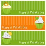 Patrick s Day Cupcake Horizontal Banners. A collection of three horizontal banners wishing a happy St. Patricks or Saint Patrick s Day, with sweet cupcakes. Eps Stock Images