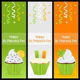 Patrick s Day Cupcake Vertical Banners. A collection of three vertical banners wishing a happy St. Patricks or Saint Patrick s Day, with sweet cupcakes Stock Image