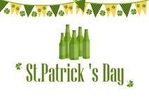 Patrick`s day, festive background with garland, beer and clover. Vector. Illustration Stock Photo