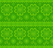 Patrick's day green knitted sweater with clover Stock Photography