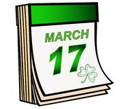 Patrick`s Day. The green tear-off calendar is open on March 17, the Irish festival of St. Patrick`s Day. More on the calendar shows a leaf clover royalty free illustration