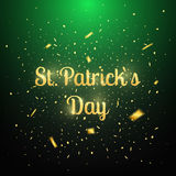 Patrick`s Day greeting card. Gold glitter lettering and confetti Stock Photos