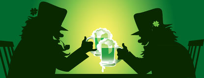 Patrick's Day Leprechauns. Vector illustration of two leprechauns drinking beer stock illustration