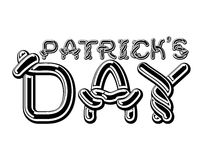 Patrick`s Day lettering emblem. Celtic font letters. National Ho Stock Photos