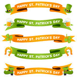 Patrick s Day Ribbons or Banners Set Royalty Free Stock Photo