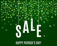 Patrick`s day sale banner template with shamrock leaves on dark green background. Vector. Patrick`s day sale banner template with shamrock leaves on dark green Stock Photography