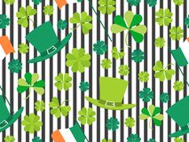 Patrick`s Day, seamless pattern with green clover leaves, Irish flag and leprechaun hat on a striped background. For banner and greeting card. Typography Royalty Free Stock Photos