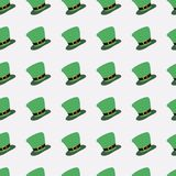 Patrick`s Day, seamless pattern with green leprechaun hat. For banner and greeting card. Typography design. Vector illustration Royalty Free Illustration