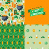 Patrick's Day seamless patterns set with Stock Images