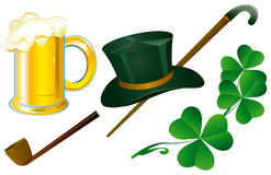 Patrick's symbols. Beer, smoking tube, hat and clover Stock Photography
