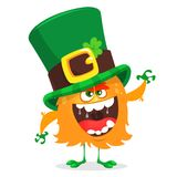 patrick saint Nationell irländsk ferie Vektorillustration av det gigantiska trollet i grön hatt stock illustrationer