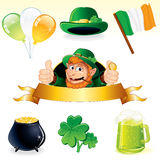 Patrick Set. Set of icons and symbols for Patrick Day Stock Images