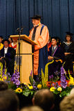Patrick Stewart receiving Honorary Doctorate. Star Trek star Patrick Stewart gives a speech after having received an Honorary Doctorate of Letters at the royalty free stock images