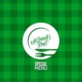 Patrick-Tagesparteifeiertagsmenü-Designhintergrund Lizenzfreies Stockbild