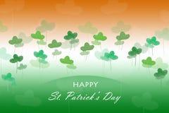 Patricks天卡片 爱尔兰旗子标志 三叶草留给水彩用手被画 库存照片