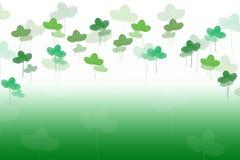 Patricks background. Clover leaves watercolor drawn by hand on green. Patricks background. Clover leaves in many tones of green watercolor drawn by hand. Leaf stock images
