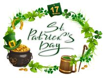Patricks Day accessories pot gold, beer mug, clover leaf, March 17, wreath grass. Isolated on white vector cartoon illustration Royalty Free Stock Photography