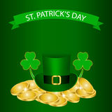 Patricks Day background with clover and coin Royalty Free Stock Image