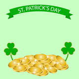 Patricks Day background with clover and coin. Happy St. Patricks Day. 17 March Royalty Free Stock Image