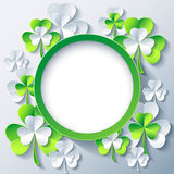 Patricks day background, frame with 3d leaf clover. Beautiful trendy round frame with green - grey 3d leaf clover. Greeting or invitation card with stylized Royalty Free Stock Images
